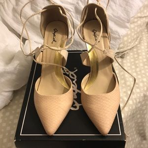 Shoes - Nude lace up heels